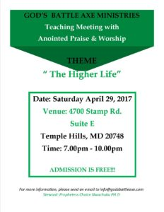 Teaching Meeting with Anointed Praise & Worship – Gods